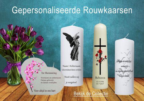 Rouwkaarsen met passende afbeeldingen en teksten bestel je online bij de online kaarsenwinkel.