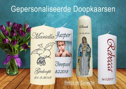 Doopkaarsen met een foto van je kindje, naam en doopdatum.